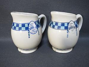Lot-2-Antique-Pot-in-Milk-Adv-Years-1950-Vintage-Lustucru-French-Old-Milk-Pot