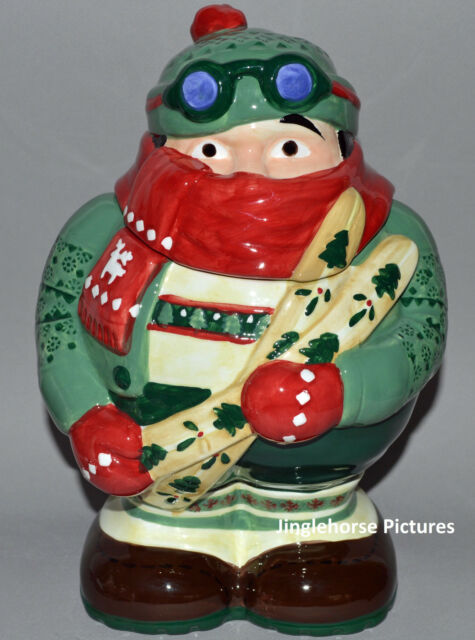 "Winter Mountain Skier Cookie Jar 11.5"" Christmas Holiday Ceramic Gift skiing hat"