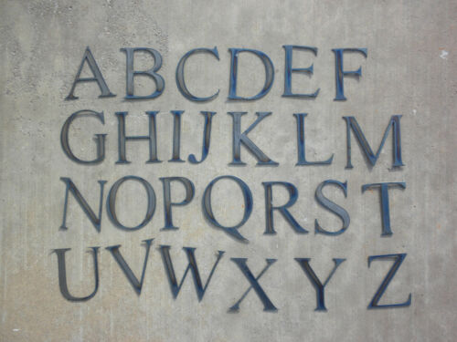 "6/"" Complete Alphabet Times New Roman Letters Rough Metal Vintage Stencil Craft"