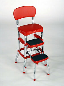 NEW Cosco Red Retro Counter Chair Step Stool Folding