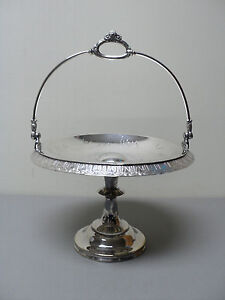 Image is loading WONDERFUL-ANTIQUE-ROGERS-SILVER-PLATE -SWING-HANDLE-PEDESTAL- & WONDERFUL ANTIQUE ROGERS SILVER PLATE SWING HANDLE PEDESTAL CAKE ...