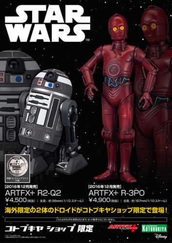 Kotobukiya Star Wars ARTFX+ R2-Q2 & R-3PO Set Limited Edition Figure Nuovo Rare