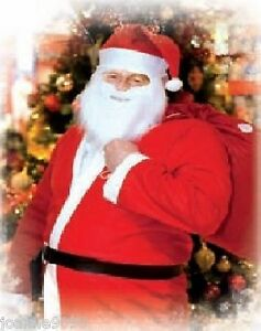 Adult Mens Santa Suit Father Christmas Fancy Dress Costume Belt Hat and Beard BN