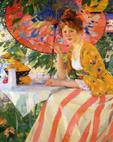 Red Head Girl with Parasol by Karl Buehr Table Fruit Eat Drink 8x10 Print 0012