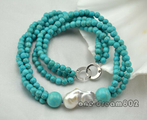 """3Strands 20/"""" 6mm Round turquoise white reborn keshi pearl necklace"""