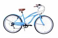"16"" FRAME LADIES AMERICAN USA CALIFORNIAN BEACH CRUISER BIKE 6 SPEED CYCLE BLUE"