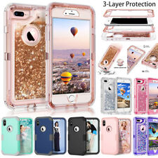 For iPhone XS Max XR X 6 7 8 Plus Glitter Liquid Bling Quicksand Heavy Duty Case