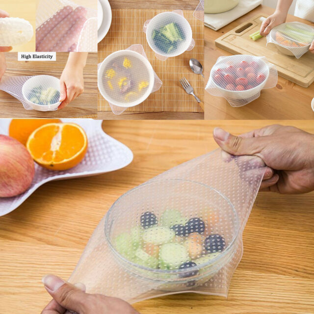 3x Silicone Seal Cover Reusable Wrap Stretch Film Kitchen Food Fresh Keep Pack