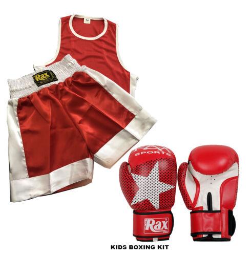 Bambini Boxe Uniforme Set 2 Top /& Shorts Con Guantoni Da Boxe età 3-14 anni R a X