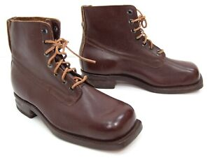 Vintage-Swiss-Army-Brown-Leather-Boots-1940-039-s-50-039-s-Issue-Work-Boots-Heavy-Duty