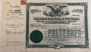 Errol-amp-Berlin-Electric-Railway-amp-Power-gt-1923-New-Hampshire-stock-certificate