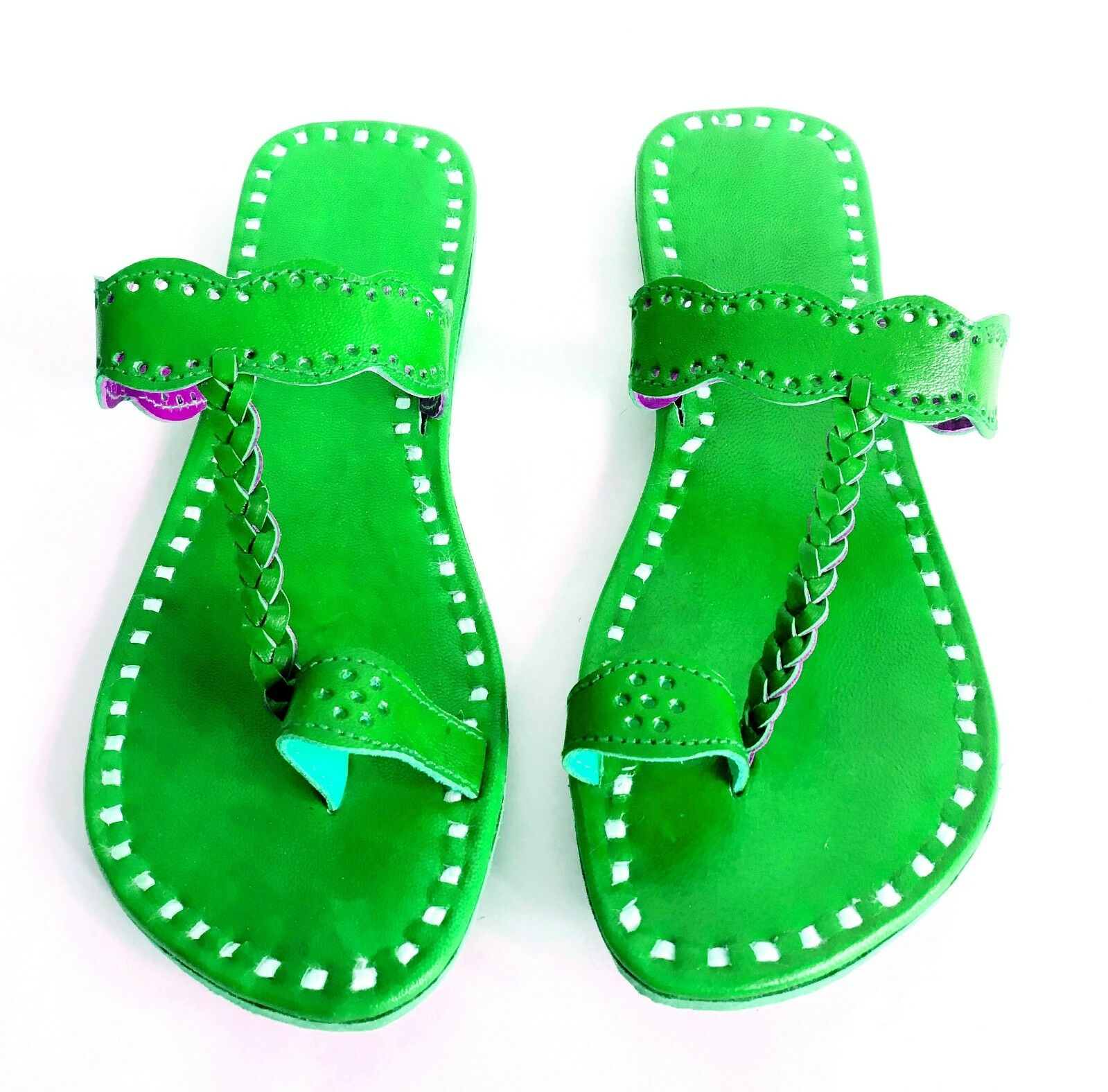 2018 slippers hand stitching slippers handmade leather slippers 2018 shoe flats green slippers 865a90