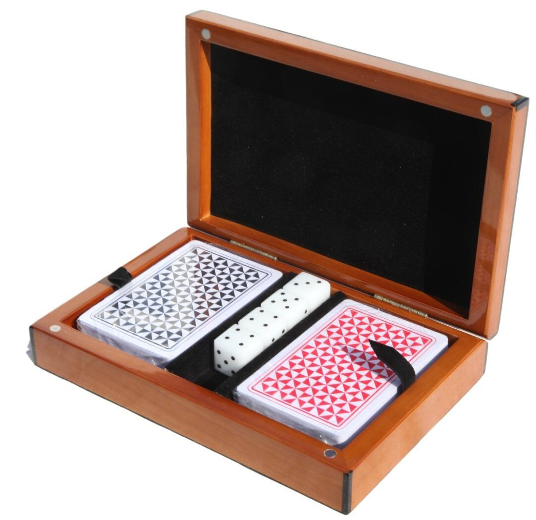 Polished wooden playing cards box and set of dice