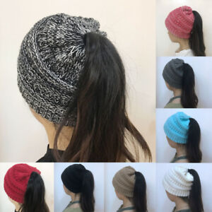 Image is loading Women-Beanietail-Messy-High-Bun-Ponytail-Stretchy-Knit- a68e1b22aab