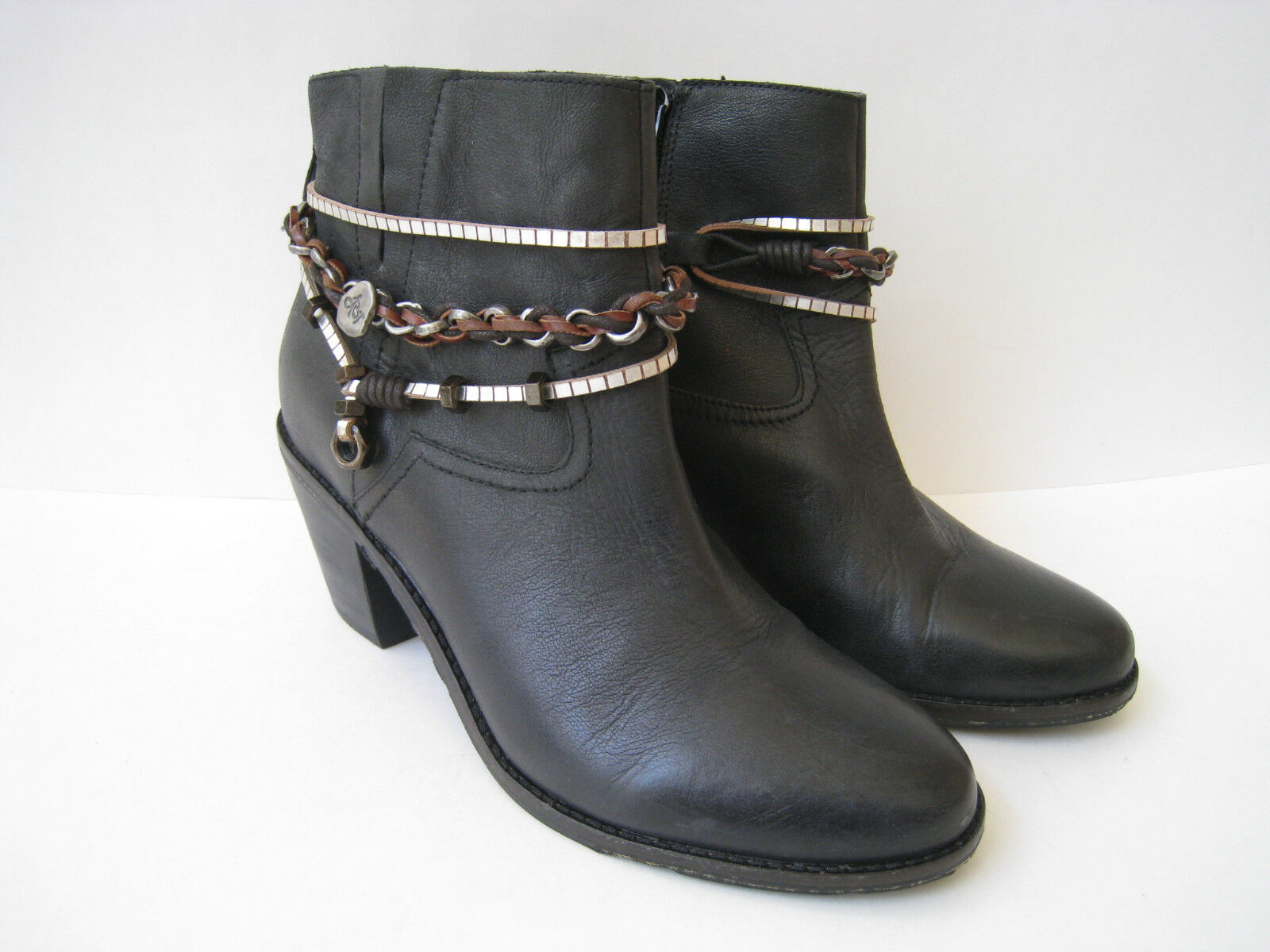 OTOT BELFAIR BLACK LEATHER CHAIN ACCENT STRAP ACCENT CHAIN ANKLE BOOT SIZE US 9.5M  HOT e8a4cf
