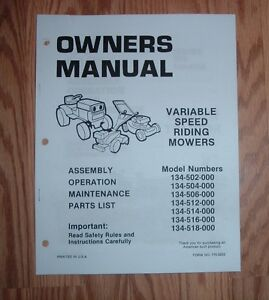 mtd 134 502 134 504 riding mower owners manual illustrated parts rh ebay com mtd riding mower repair manual mtd riding mower repair manual