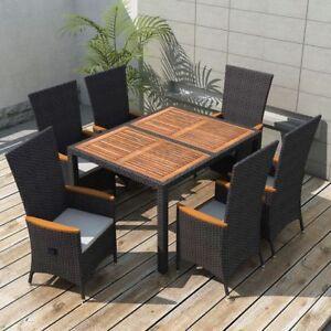 Image Is Loading VidaXL Outdoor Dining Set 13 Piece Wicker Rattan