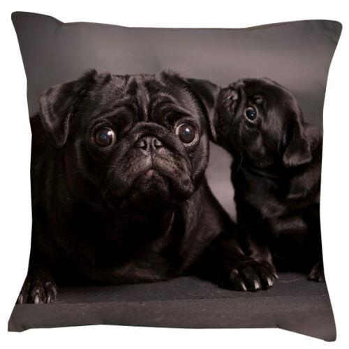Black pug famille coussin-ajouter votre propre texte choixcadeaumignon chien