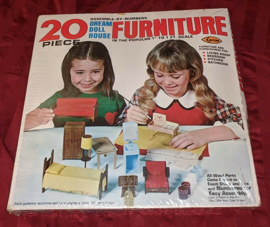 Arrow Dream Doll House Furniture Kit 1978 Pre-cut Wood to Assemble New VINTAGE