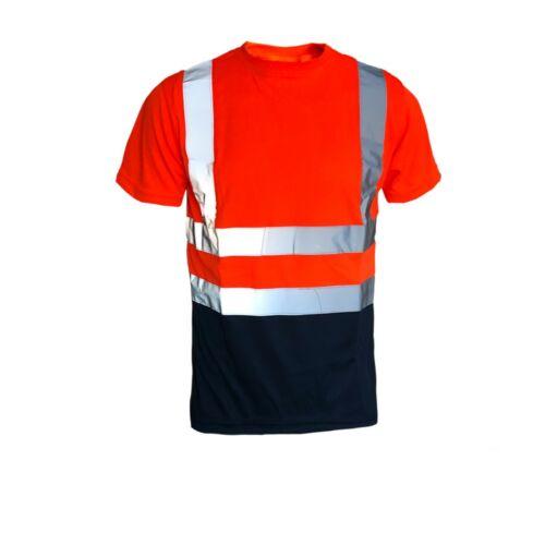 Hi Viz Vis T Shirt Top High Visibility Safety Security Work Reflective Tape
