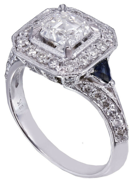 18k White Gold Asscher Cut Diamond Engagement Deco Halo Ring Bridal Halo 1.45ctw