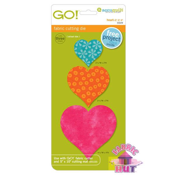 """Accuquilt GO! Fabric Cutter Die 2"""", 3"""", 4"""" Heart Quilt Sew 55029"""