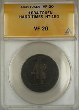 1834 Hard Times Token Lafayette HM&EI Richards Attleboro Mass HT-150 ANACS VF-20