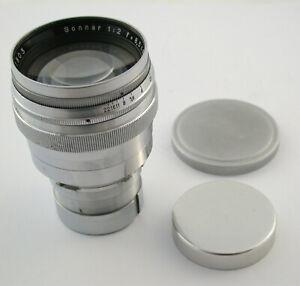 Carl-ZEISS-Jena-Sonnar-2-85-2-8-5-85-8-5-cm-85mm-F2-2-Contaflex-TLR-top-amp-clean