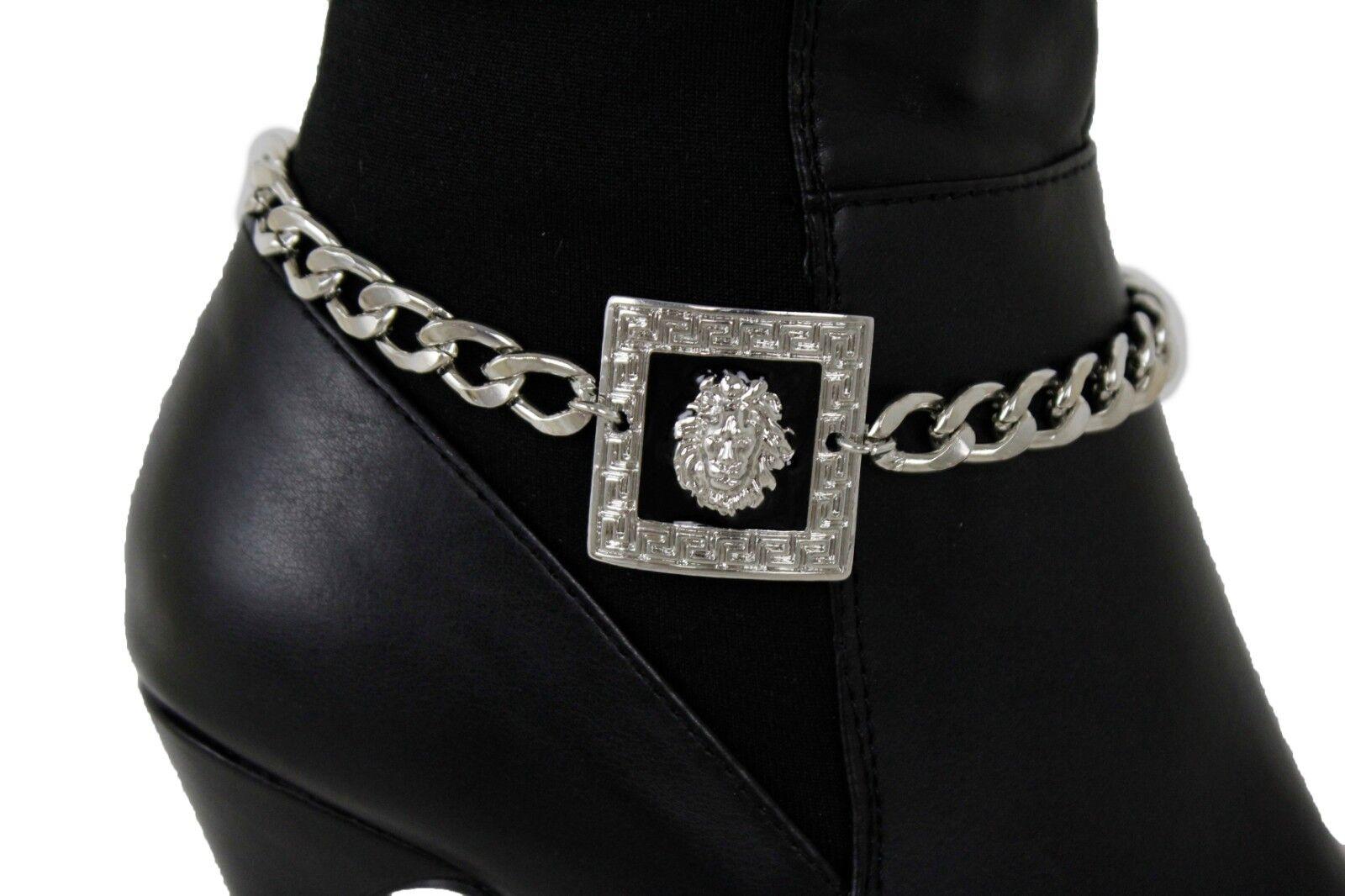 Women Silver Metal Chain Boot Bracelet High Heel Shoe Lion Square Charm Bling