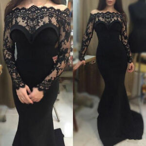 2018-Black-Long-Formal-Evening-Party-Gown-Custom-Mermaid-Lace-Prom-Dress-Pageant
