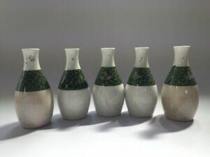 Japanese-Old-Pottery-Sake-Bottle-Tokkuri-Vtg-5pc-Green-White-Plant-Liquor-R207