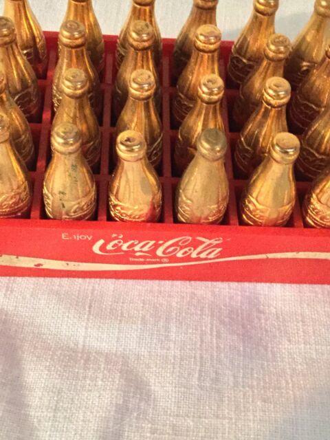 Rare Trade mark 24 Vtg Mini Coca-Cola gold bottles original red case complete