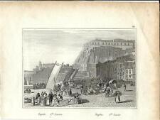 Stampa antica NAPOLI Quartiere di Santa Lucia 1834 Old antique print Engraving