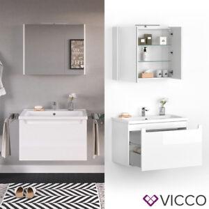 Details zu VICCO Badmöbel Set ELBA 80 cm Weiß Hochglanz - Bad Waschtisch  Spiegelschrank