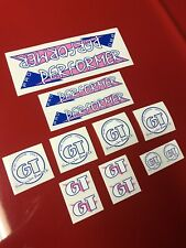 1986 GT Performer handlebar decal pink on clear old school bmx