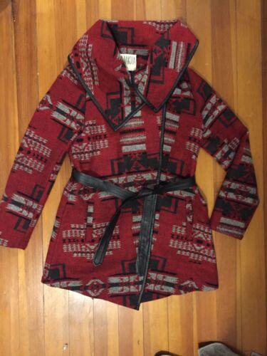 Peacoat M Femme Tie Open Manteau Aztèque Veste Dakota Imprimé Ceinture Bb 086qfYw