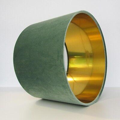 Lampshade Mint Green Light Velvet Brushed Gold Lightshade Metallic