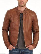 Men's New Designer Motorcycle Biker Tan Brown Genuine Lambskin Leather Jacket