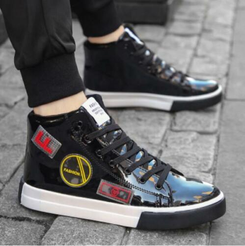 Mens Patent Leather Lace Up Shoes Casual Athletic High Top Sport Sneaker Hip Hop