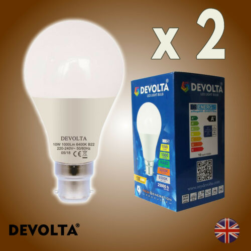 B22  Bayonet GLS Lamp Light Bulbs Warm White Devolta = 100W Pack of 2 LED 10W
