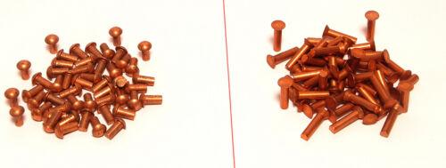 Kupfernieten Nieten Halbrundkopf oder Flachkopf zur Auswahl