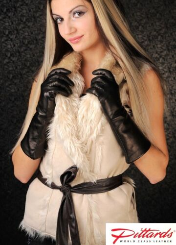 BRAND NEW! !BRAND NEW Classy Black Long Leather Gloves with Wool Lining