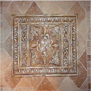 Details About French Country Fleur De Lis Medallion Cast Stone Backsplash Tiles Set