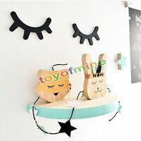 2pcs 3d Eyelash Closed Eye Wall Decal Decoration Wood Stickers Wood Cartoon Diy