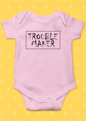 Trouble Maker Smile Happy Funny Cool Baby Shower Boy Girl Bodysuit Romper 40