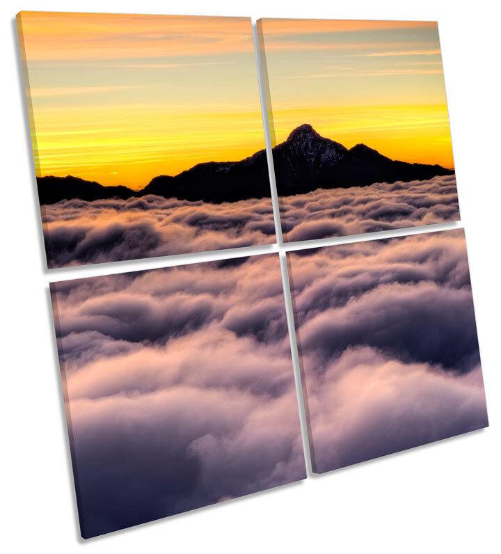 Cielo nubes de montaña puesta rojo de sol LONA pa rojo puesta  arte cuadrado de impresión de múltiples 4ca3d6