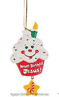 Fe-otc Christmas Religious Ornament - Happy Birthday Jesus Cupcake