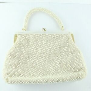 Vintage-50s-60s-Beaded-Handbag-Purse-White-Gold-Tone-Clasp-Purse-Hong-Kong