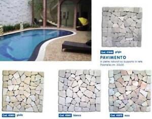 Pavimento piastrelle in pietre naturali su supporto in rete cm 30x30 grigio ebay - Piastrelle x giardino ...