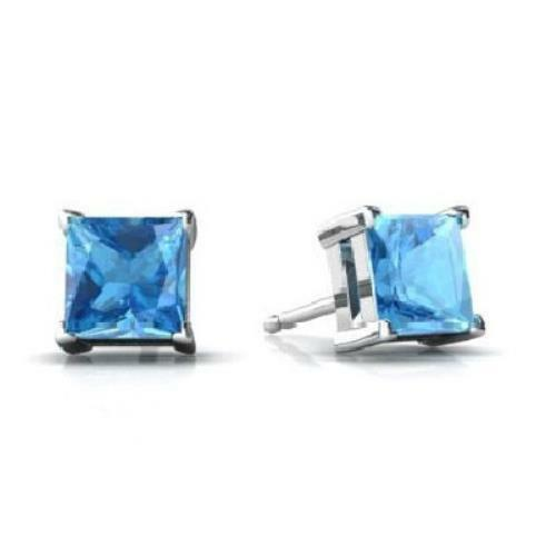 2 Ct Blue Topaz 6mm Princess Cut Stud Earrings White Gold Silver